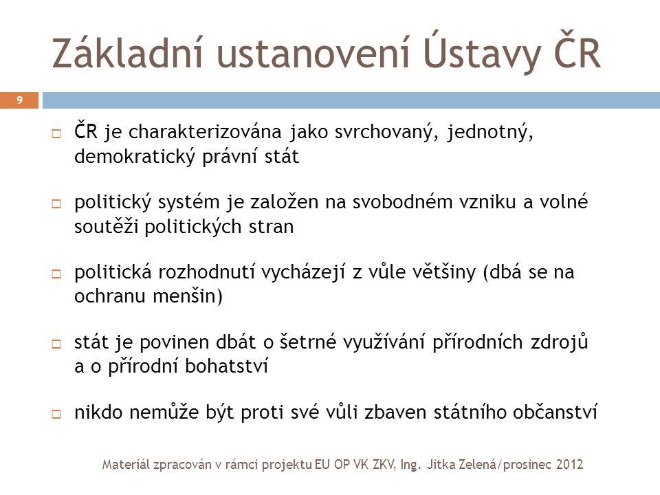 Základní ustanovení Ústavy ČR