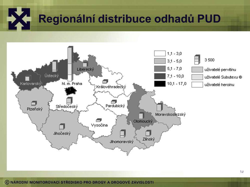 Regionální distribuce odhadů PUD