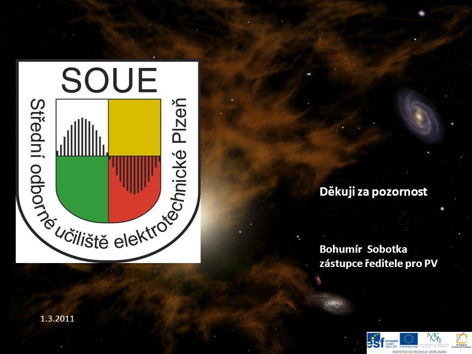 Děkuji za pozornost Bohumír Sobotka zástupce ředitele pro PV 1.3.2011