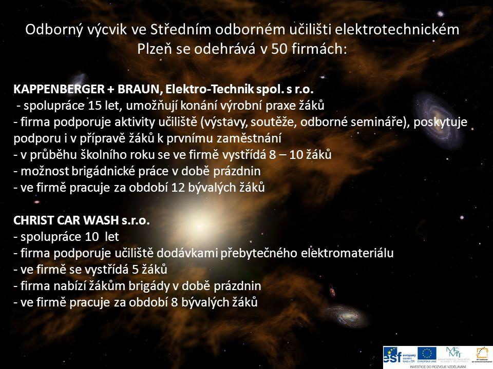 Odborný výcvik ve Středním odborném učilišti elektrotechnickém Plzeň se odehrává v 50 firmách: