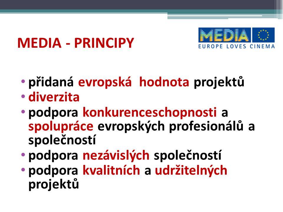 MEDIA - PRINCIPY přidaná evropská hodnota projektů diverzita