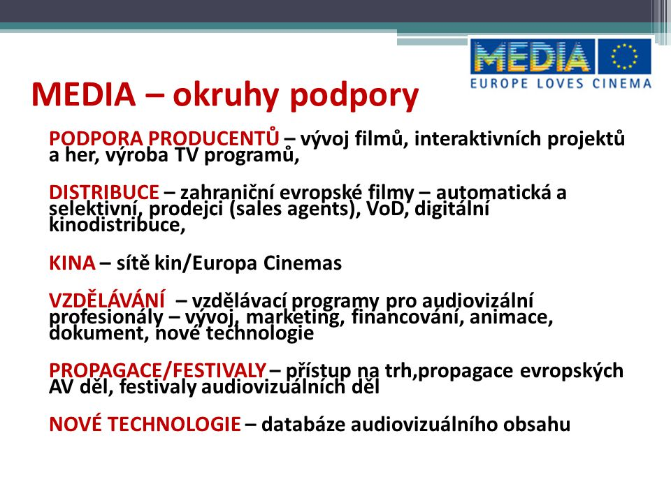 MEDIA – okruhy podpory PODPORA PRODUCENTŮ – vývoj filmů, interaktivních projektů a her, výroba TV programů,