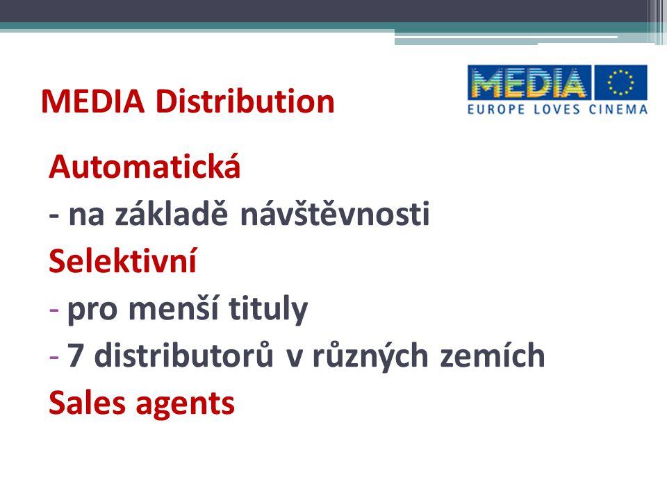 MEDIA Distribution Automatická. - na základě návštěvnosti. Selektivní. pro menší tituly. 7 distributorů v různých zemích.