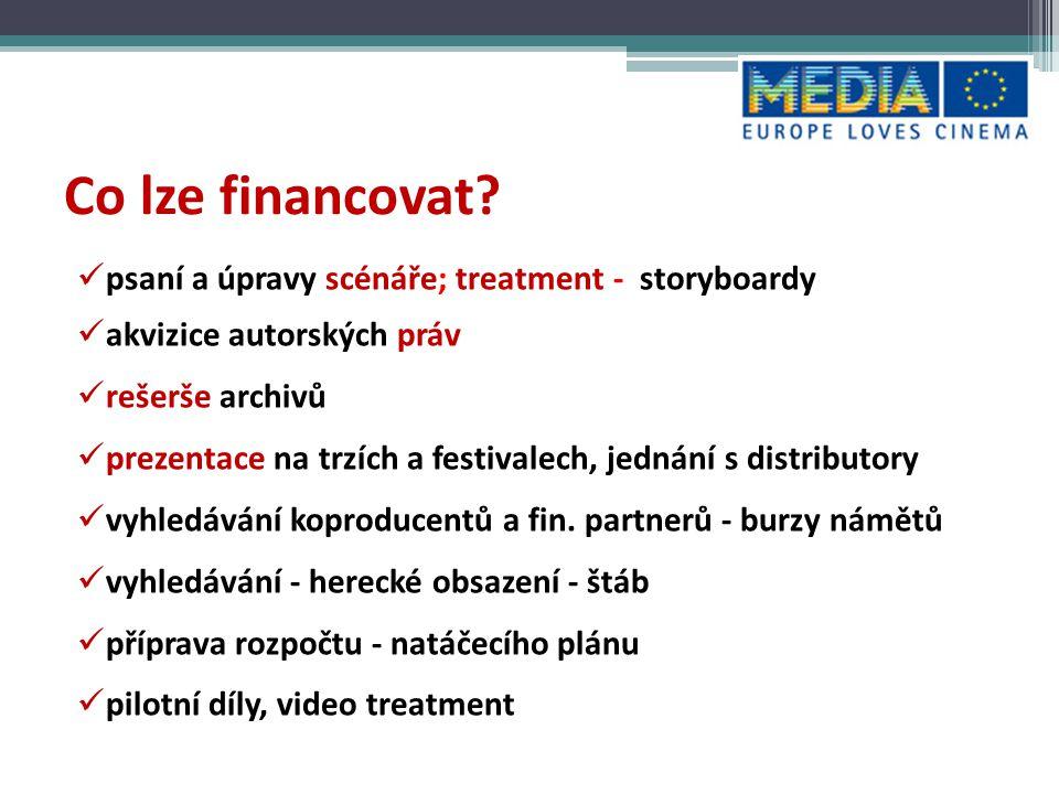 Co lze financovat psaní a úpravy scénáře; treatment - storyboardy