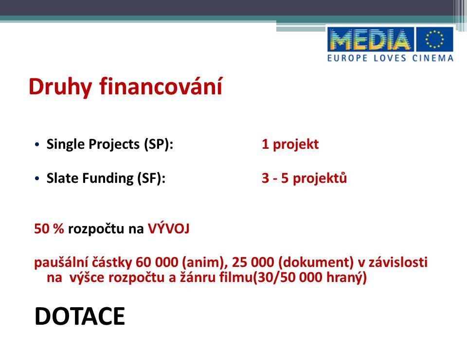 DOTACE Druhy financování Single Projects (SP): 1 projekt