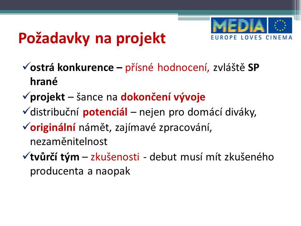 Požadavky na projekt ostrá konkurence – přísné hodnocení, zvláště SP hrané. projekt – šance na dokončení vývoje.