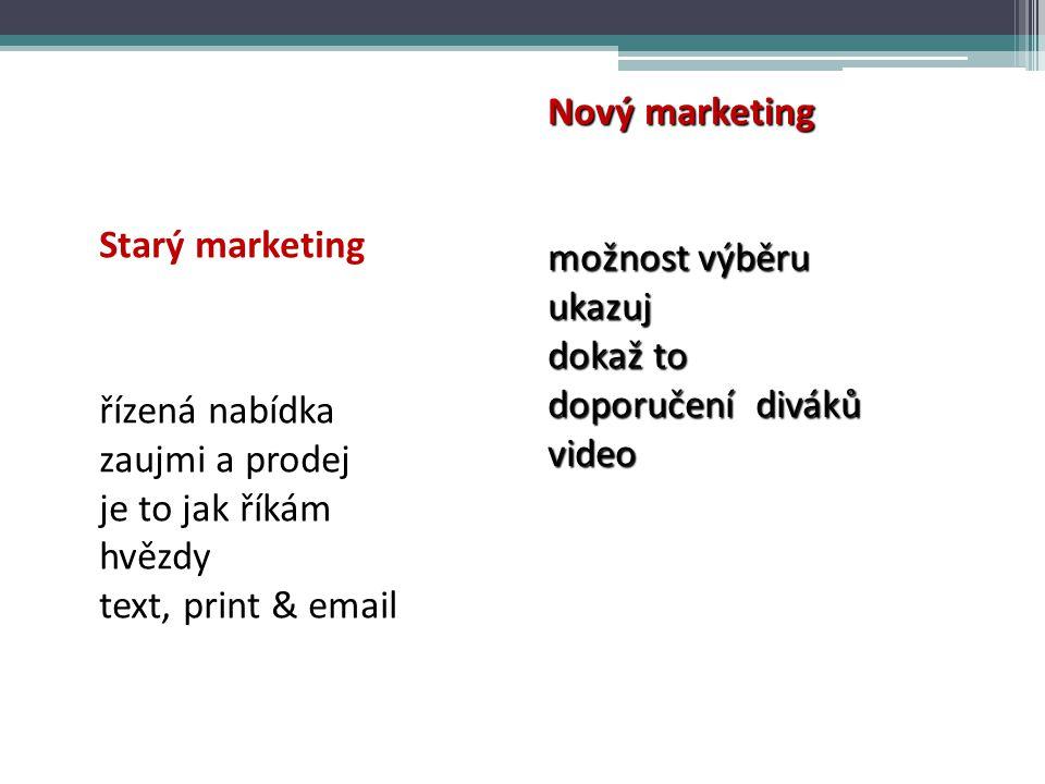 Nový marketing možnost výběru. ukazuj. dokaž to. doporučení diváků. video. Starý marketing. řízená nabídka.