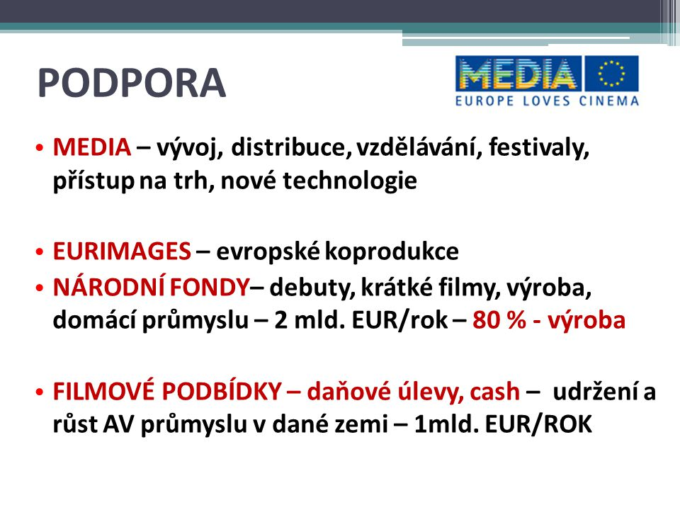 PODPORA MEDIA – vývoj, distribuce, vzdělávání, festivaly, přístup na trh, nové technologie. EURIMAGES – evropské koprodukce.