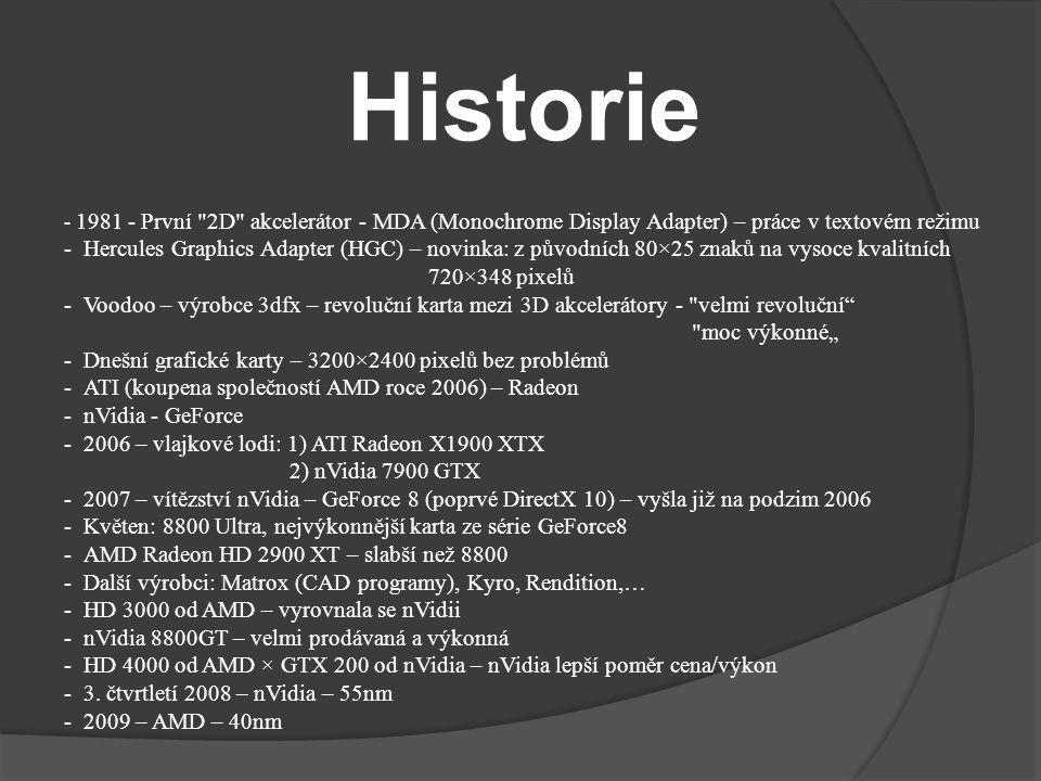 Historie - 1981 - První 2D akcelerátor - MDA (Monochrome Display Adapter) – práce v textovém režimu.