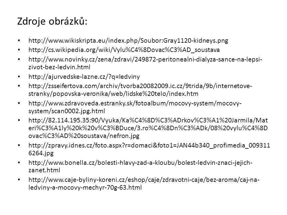 Zdroje obrázků: http://www.wikiskripta.eu/index.php/Soubor:Gray1120-kidneys.png. http://cs.wikipedia.org/wiki/Vylu%C4%8Dovac%C3%AD_soustava.