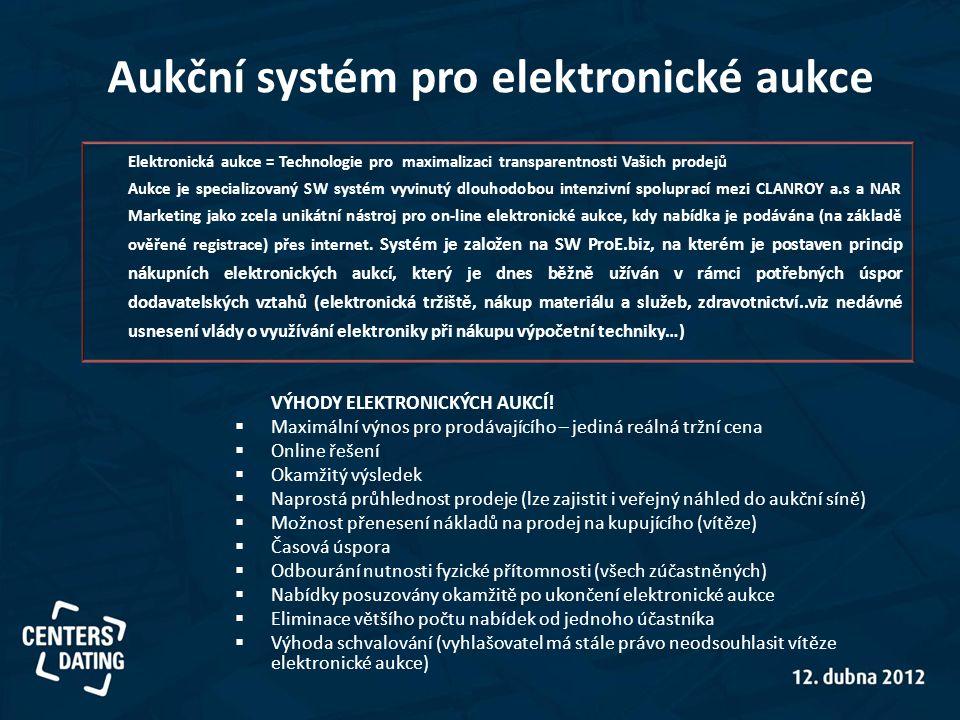 Aukční systém pro elektronické aukce