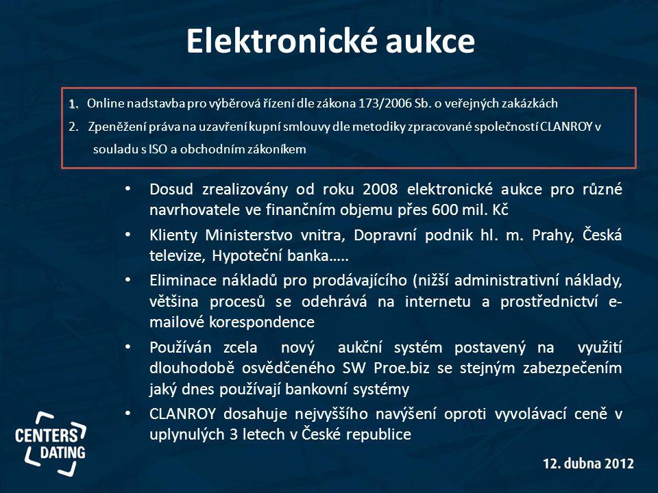 Elektronické aukce 1. Online nadstavba pro výběrová řízení dle zákona 173/2006 Sb. o veřejných zakázkách.
