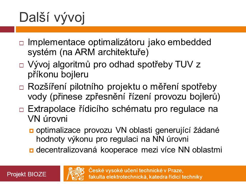 Další vývoj Implementace optimalizátoru jako embedded systém (na ARM architektuře) Vývoj algoritmů pro odhad spotřeby TUV z příkonu bojleru.