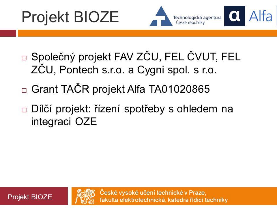 Projekt BIOZE Společný projekt FAV ZČU, FEL ČVUT, FEL ZČU, Pontech s.r.o. a Cygni spol. s r.o. Grant TAČR projekt Alfa TA01020865.