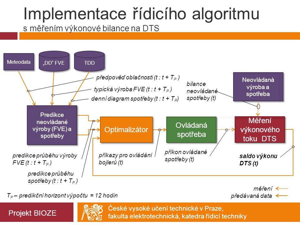 Implementace řídicího algoritmu s měřením výkonové bilance na DTS