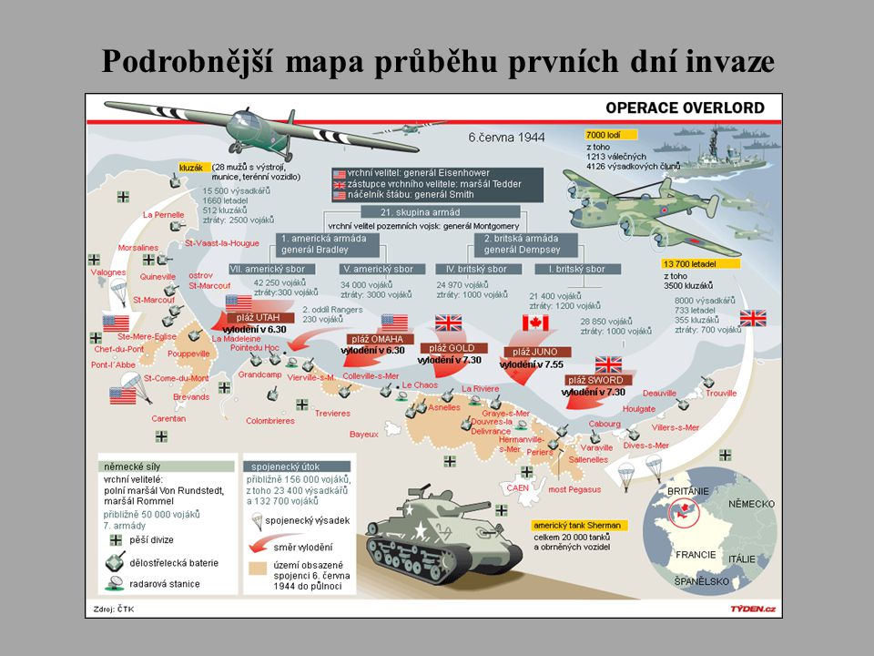 Podrobnější mapa průběhu prvních dní invaze
