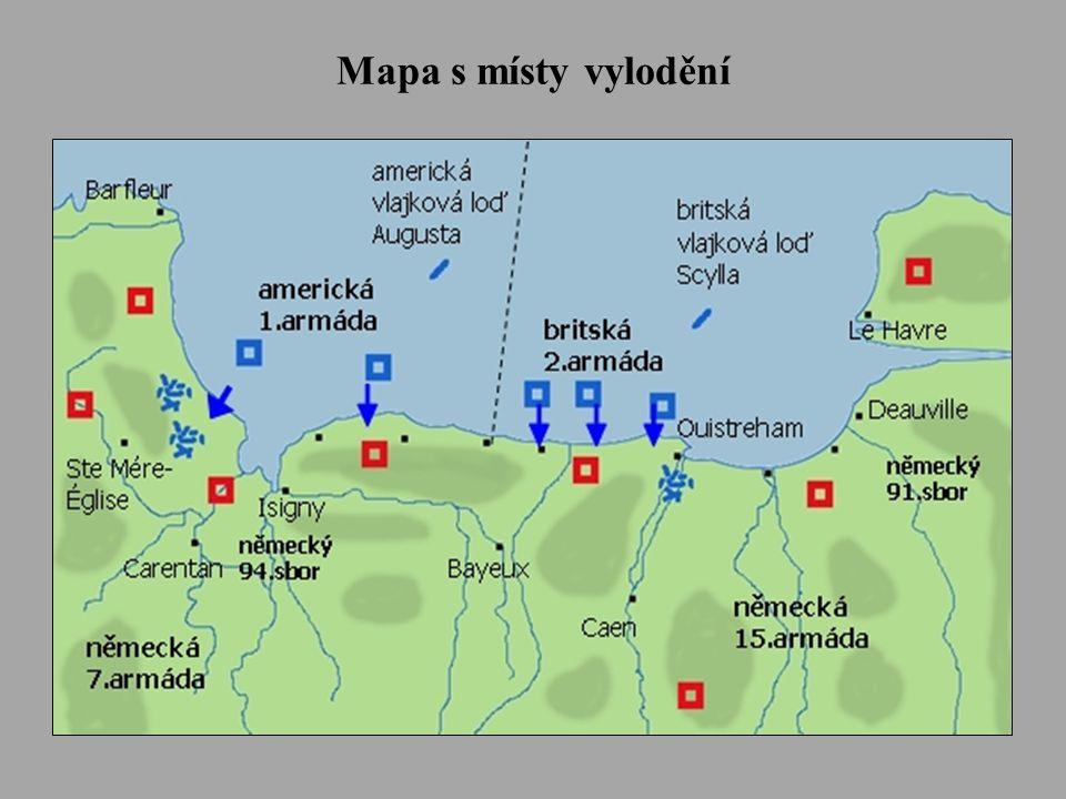 Mapa s místy vylodění
