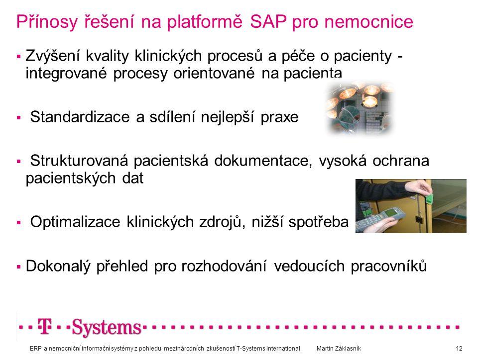 Přínosy řešení na platformě SAP pro nemocnice