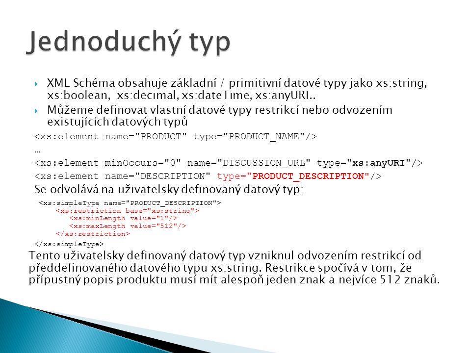 Jednoduchý typ XML Schéma obsahuje základní / primitivní datové typy jako xs:string, xs:boolean, xs:decimal, xs:dateTime, xs:anyURI..