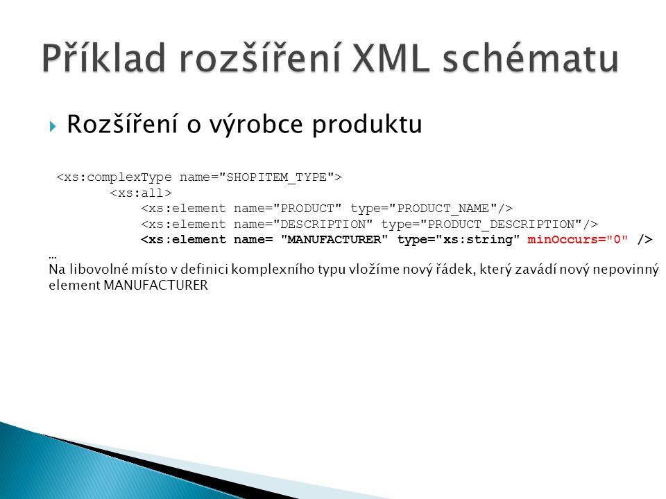 Příklad rozšíření XML schématu