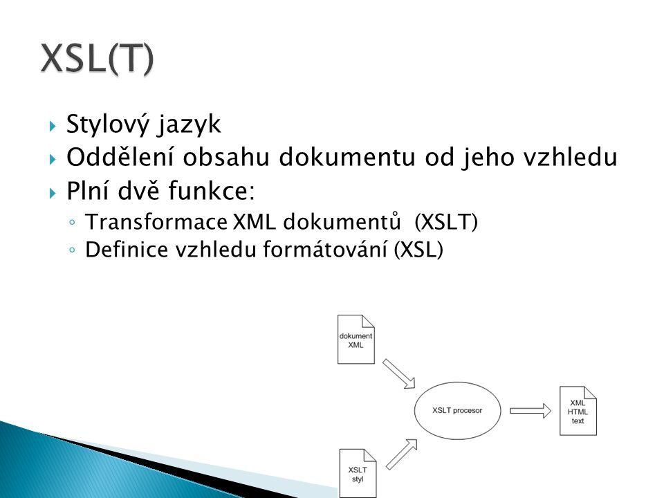 XSL(T) Stylový jazyk Oddělení obsahu dokumentu od jeho vzhledu
