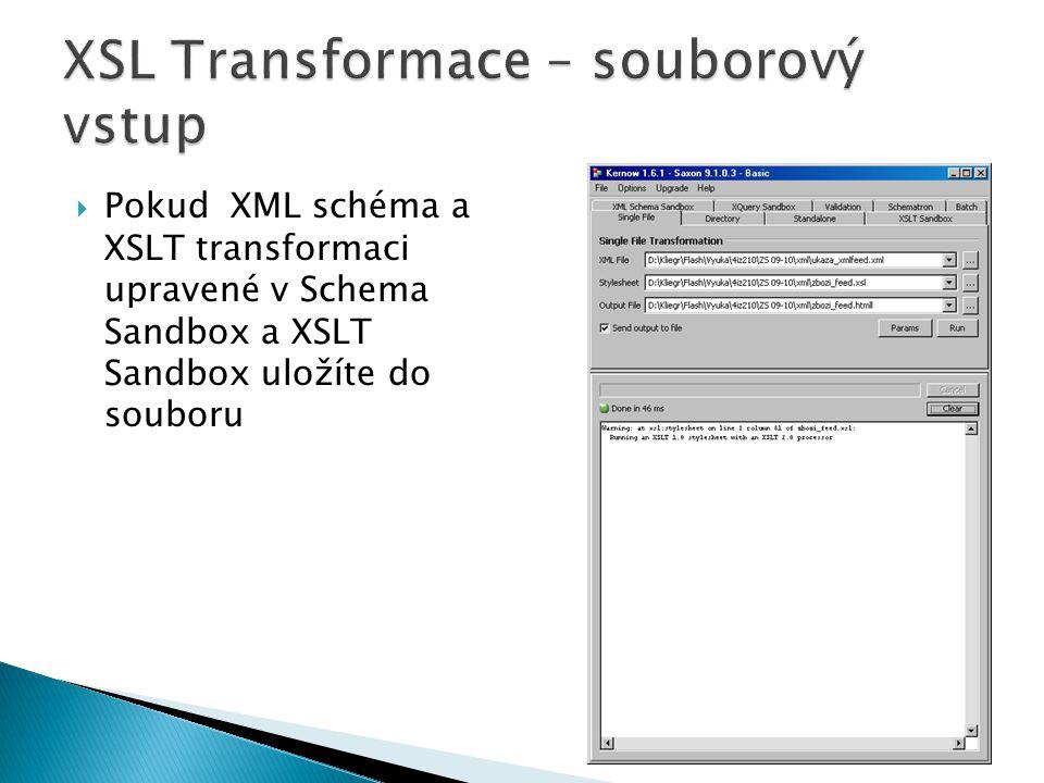 XSL Transformace – souborový vstup