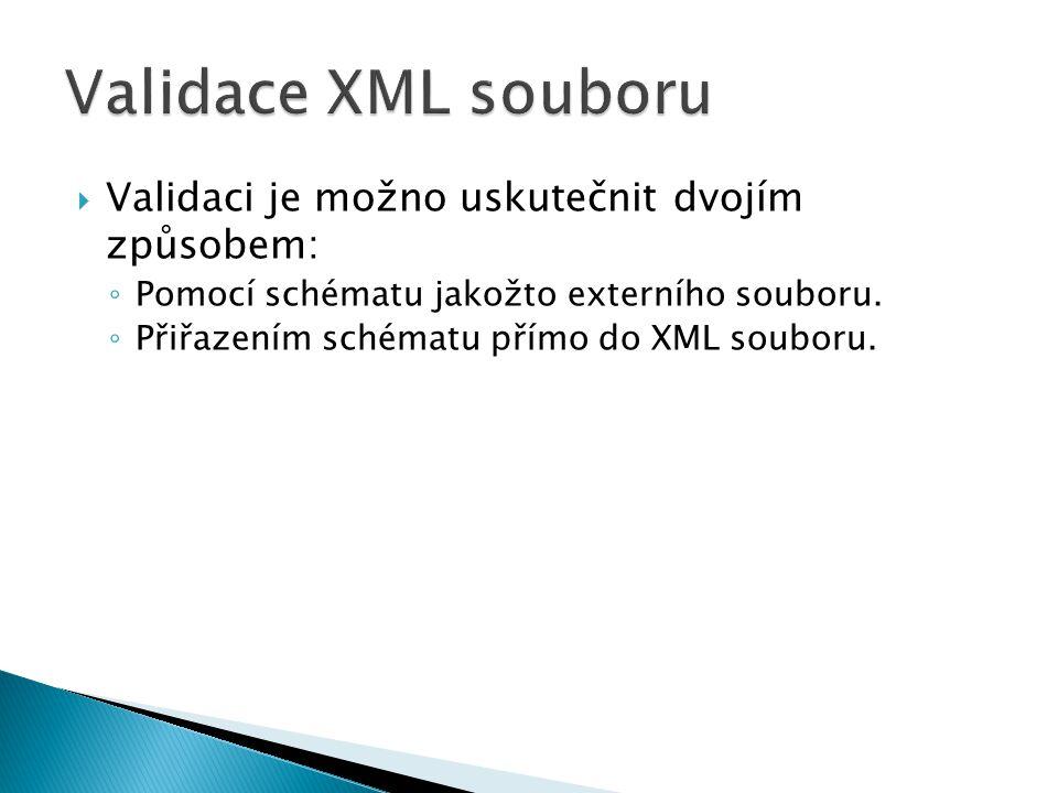 Validace XML souboru Validaci je možno uskutečnit dvojím způsobem: