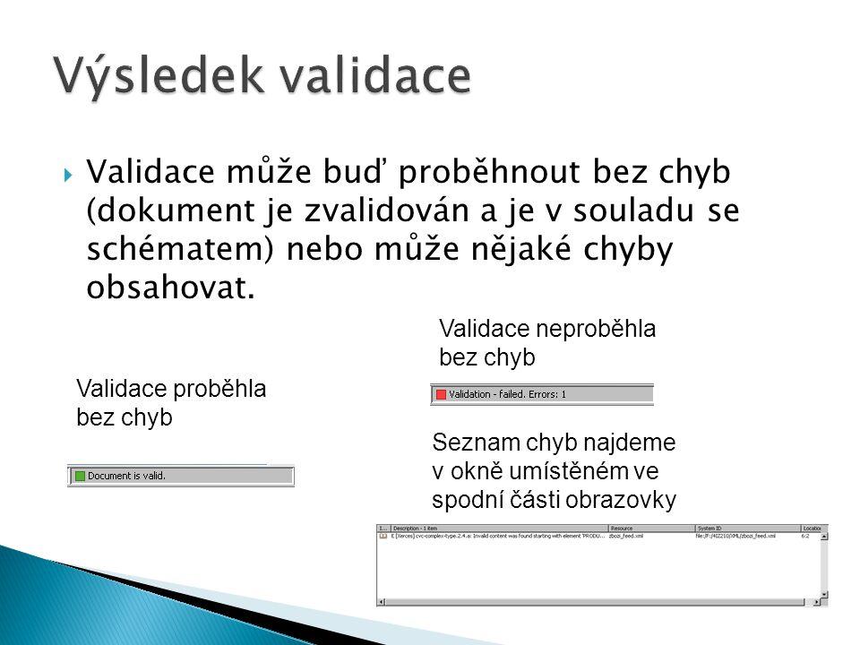 Výsledek validace Validace může buď proběhnout bez chyb (dokument je zvalidován a je v souladu se schématem) nebo může nějaké chyby obsahovat.