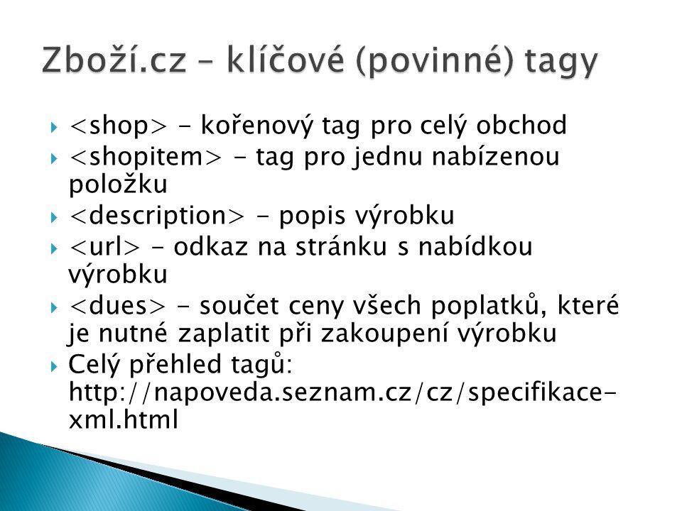 Zboží.cz – klíčové (povinné) tagy
