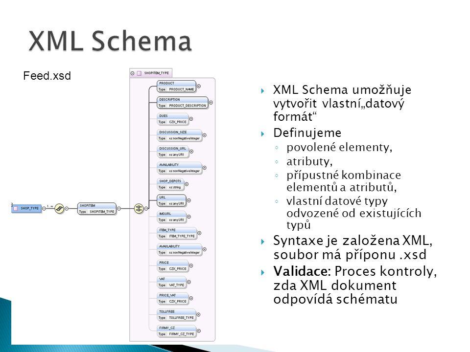 XML Schema Syntaxe je založena XML, soubor má příponu .xsd