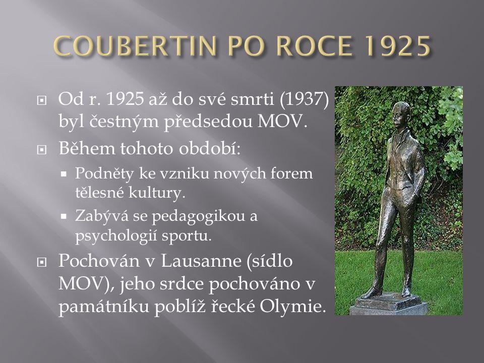 COUBERTIN PO ROCE 1925 Od r. 1925 až do své smrti (1937) byl čestným předsedou MOV. Během tohoto období: