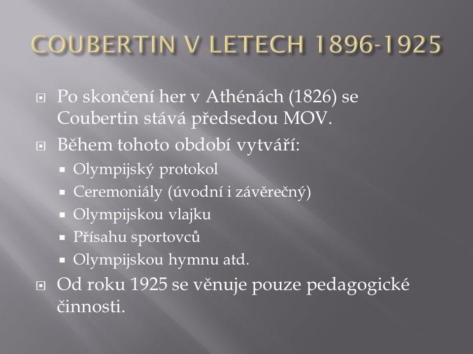 COUBERTIN V LETECH 1896-1925 Po skončení her v Athénách (1826) se Coubertin stává předsedou MOV. Během tohoto období vytváří: