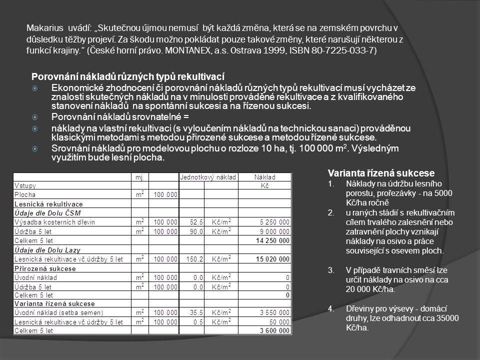 Porovnání nákladů různých typů rekultivací