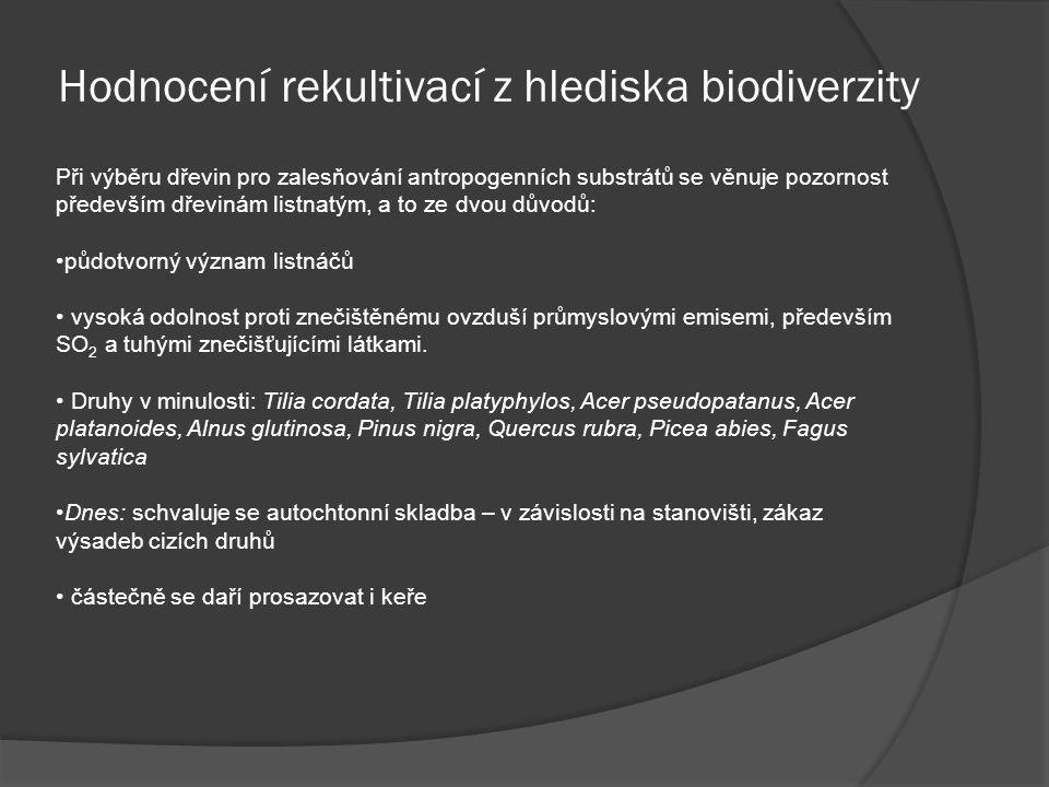 Hodnocení rekultivací z hlediska biodiverzity