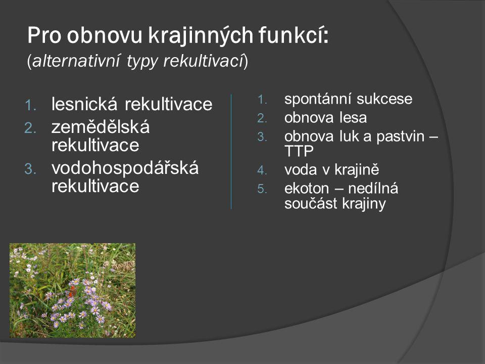 Pro obnovu krajinných funkcí: (alternativní typy rekultivací)