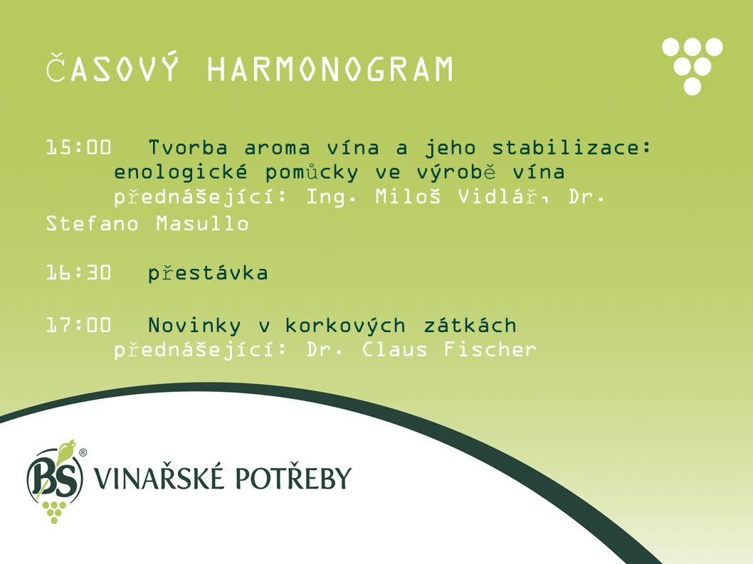 ČASOVÝ HARMONOGRAM 15:00 Tvorba aroma vína a jeho stabilizace: