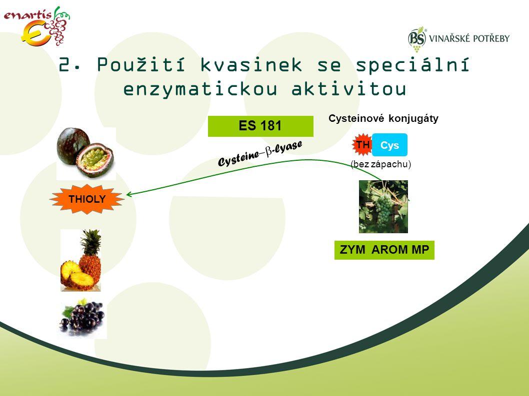 2. Použití kvasinek se speciální enzymatickou aktivitou