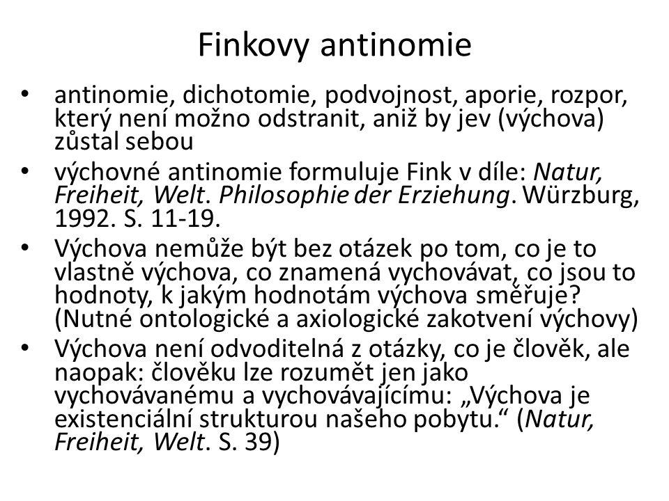 Finkovy antinomie antinomie, dichotomie, podvojnost, aporie, rozpor, který není možno odstranit, aniž by jev (výchova) zůstal sebou.