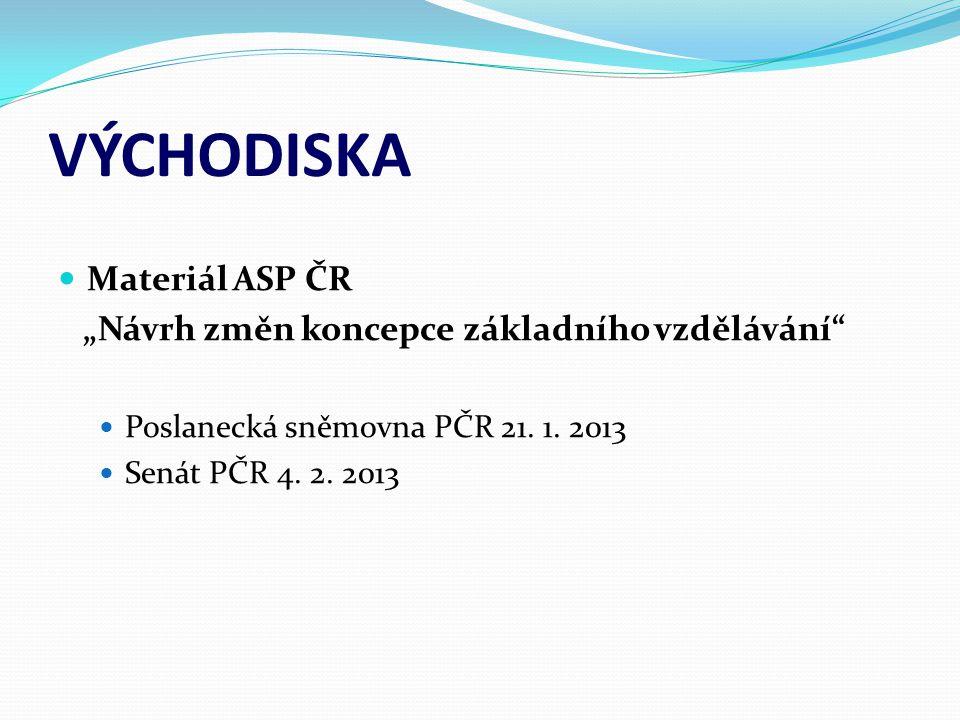 """VÝCHODISKA Materiál ASP ČR """"Návrh změn koncepce základního vzdělávání"""