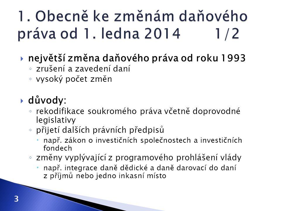 1. Obecně ke změnám daňového práva od 1. ledna 2014 1/2