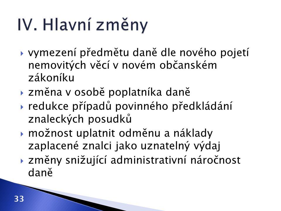 IV. Hlavní změny vymezení předmětu daně dle nového pojetí nemovitých věcí v novém občanském zákoníku.