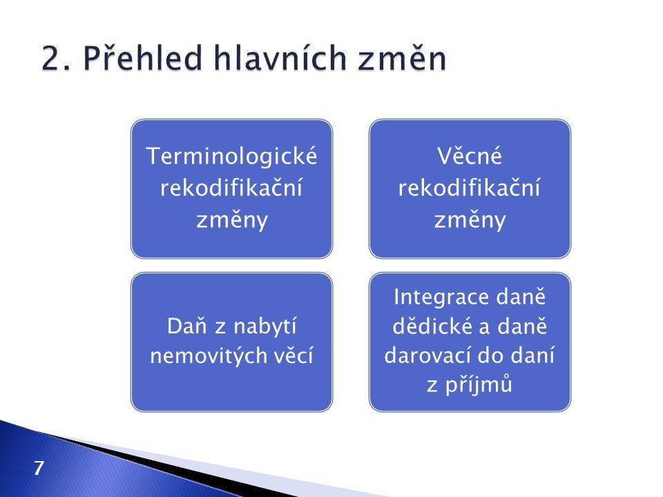 2. Přehled hlavních změn Terminologické rekodifikační změny