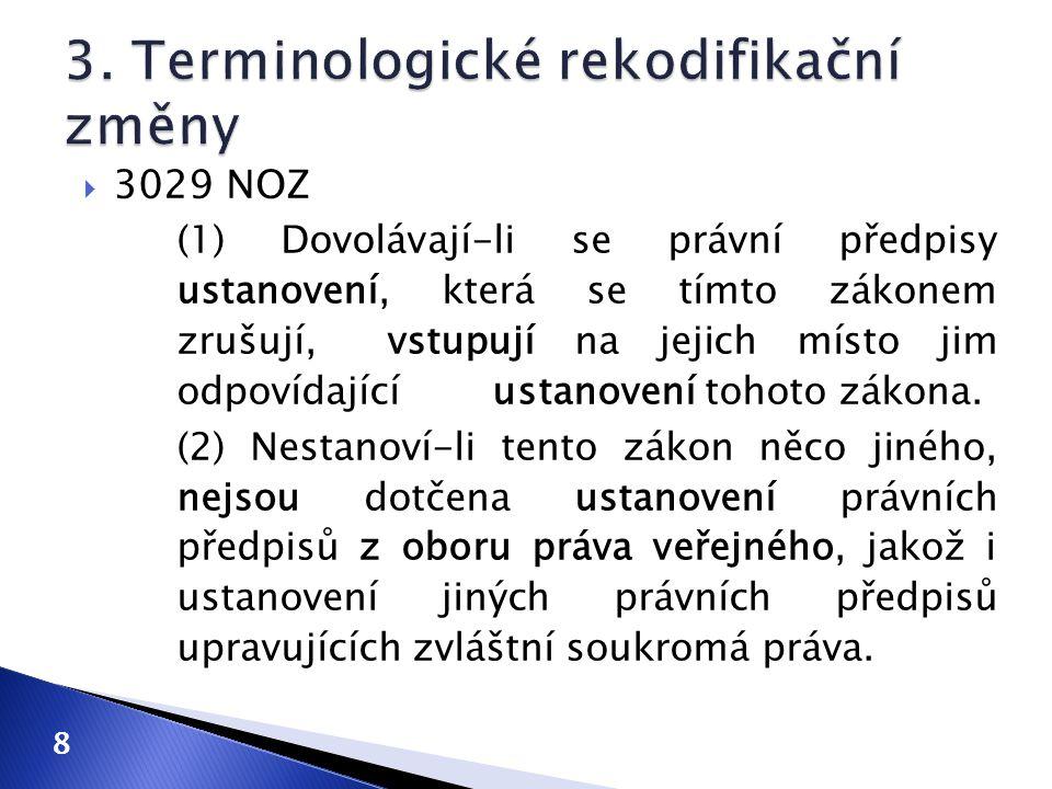 3. Terminologické rekodifikační změny