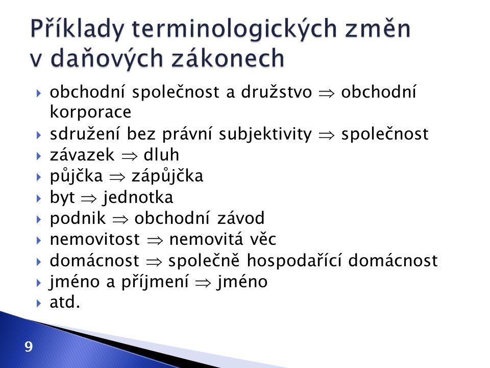 Příklady terminologických změn v daňových zákonech