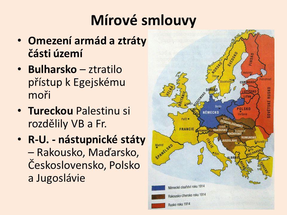 Mírové smlouvy Omezení armád a ztráty části území