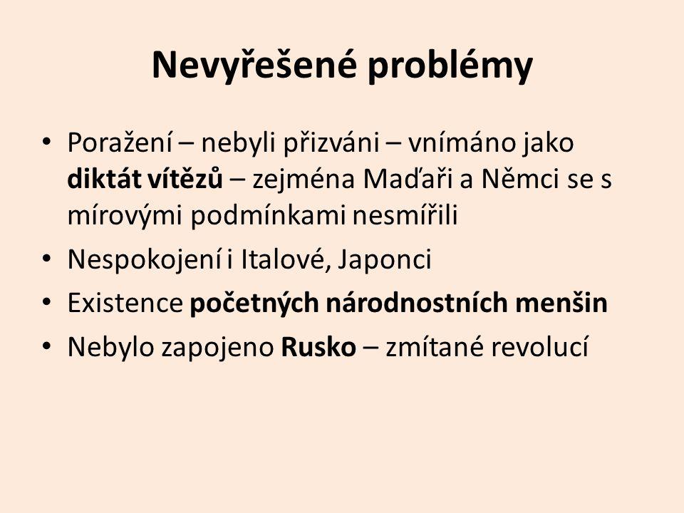 Nevyřešené problémy Poražení – nebyli přizváni – vnímáno jako diktát vítězů – zejména Maďaři a Němci se s mírovými podmínkami nesmířili.