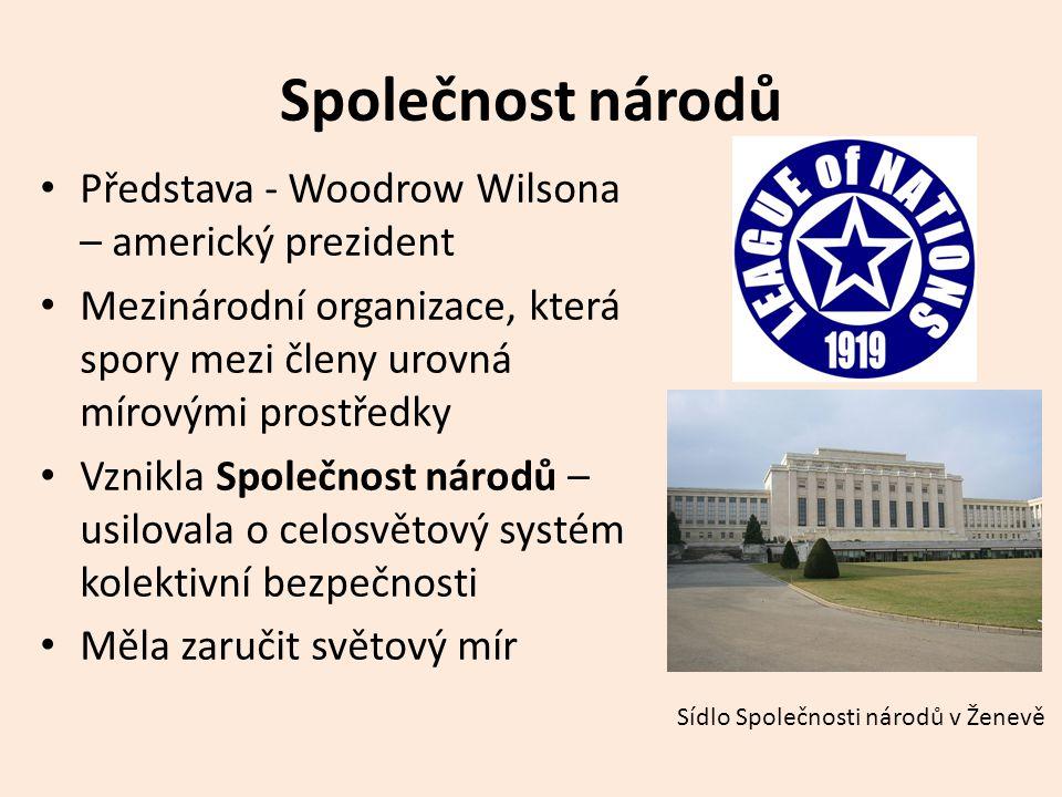 Společnost národů Představa - Woodrow Wilsona – americký prezident