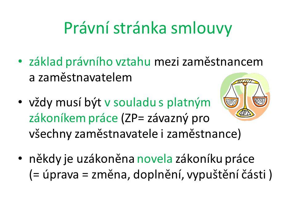 Právní stránka smlouvy