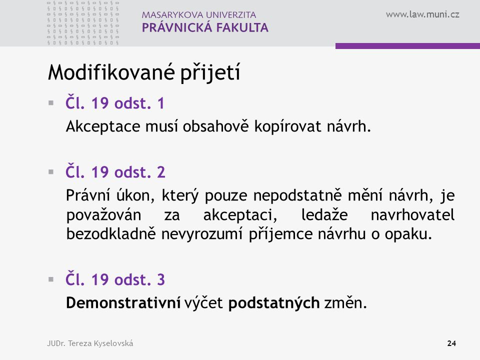 Modifikované přijetí Čl. 19 odst. 1