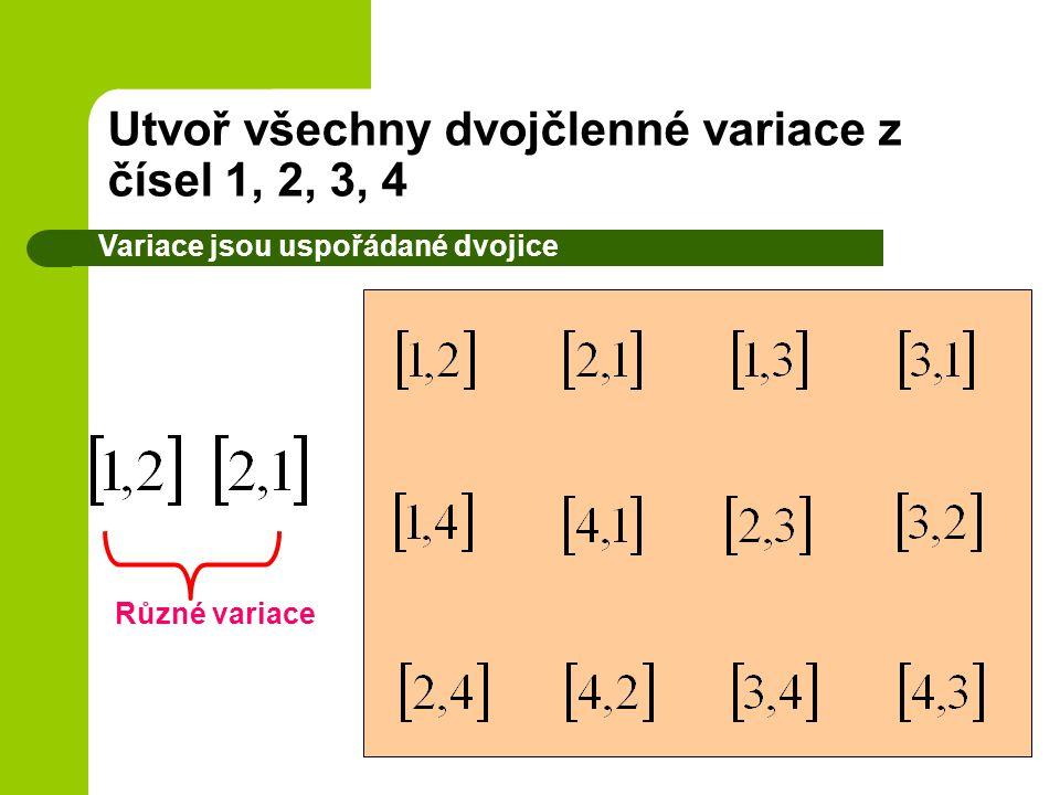 Utvoř všechny dvojčlenné variace z čísel 1, 2, 3, 4
